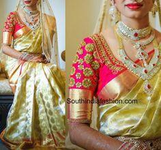 Zardosi Work Blouse for Wedding Silk Sarees – South India Fashion Wedding Saree Blouse Designs, Pattu Saree Blouse Designs, Blouse Designs Silk, Wedding Blouses, Wedding Sarees, Sari Blouse, Blouse Patterns, Bridal Sarees, Zardosi Work Blouse