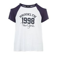 "T-shirt de baseball Ado blanc à imprimé ""Brooklyn"" et épaules dénudées | New Look"