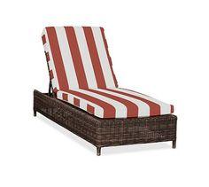 Torrey Single Chaise Cushion Slipcover, Sunbrella(R) Awning Stripe, Terracotta Stripe