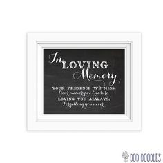 In Loving Memory Printable Sign for Wedding by dodidoodles on Etsy, $2.00