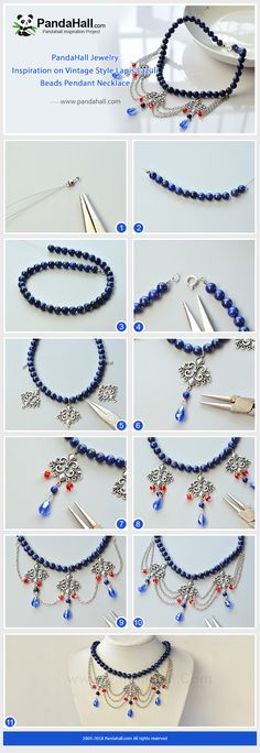 #PandaHall #JewelryMaking #diyJewelry #Tutorial #CrystalBeads matched with lapis lazuli beads can be made into into a Vintage style #necklace. Elegant and pretty.