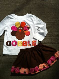 Thanksgiving Turkey shirt for girls12 by bootieboutiq on Etsy, $20.00
