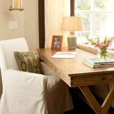 Looking for Living Space and Home Office ideas? Browse Living Space and Home Office images for decor, layout, furniture, and storage inspiration from HGTV. Desk In Living Room, Living Spaces, Living Area, Cozy Living, Desk Behind Couch, Traditional Family Rooms, Traditional Sofa, Desk Areas, Desk Space