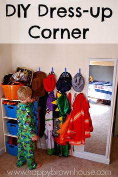 DIY Dress-up Corner for kids makes it easy to keep the dress up clothes organized and for kids to play independently. Super easy organization idea for dramatic play! Perfect for home or preschool