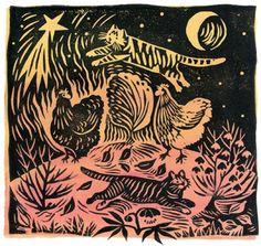 Spring Garden by Celia Hart - linocut
