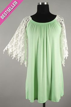 *** New Style *** Flirty Pleated Knit Tunic with Sheer Patterned Raglan Bell Sleeves and Elasticized Neckline.