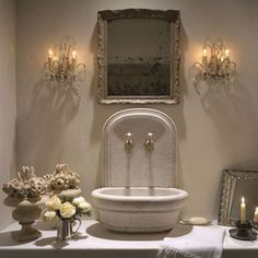 "Pam Pierce design via ""An antique mirror with a decorative frame makes this powder room a luxury and private space"". French Country Living Room, French Country Decorating, French Cottage, French Decor, Decor Inspiration, Bathroom Inspiration, Bathroom Ideas, Stone Basin, Bath Design"