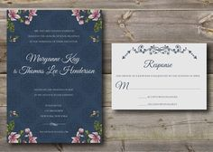 Wedding Invitation and Response Card 'vintage by CozySquareStudio