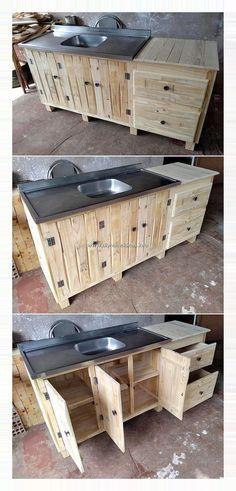 Furniture Sets Design, Pallet Furniture Designs, Wooden Pallet Furniture, Pallet Designs, Ikea Furniture, Furniture Online, Rustic Furniture, Pallet Kitchen Cabinets, Pallet Kitchen Island