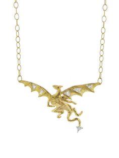 Gold Dragon with Genuine Diamonds 14 k Necklace