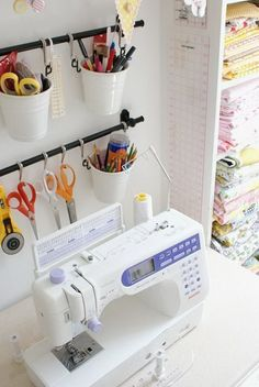 Room Storage & Organization Ideas Use IKEA Fintorp to Organize Sewing and Craft Supplies.Use IKEA Fintorp to Organize Sewing and Craft Supplies. Ikea Sewing Rooms, Sewing Room Storage, Sewing Spaces, Sewing Room Organization, My Sewing Room, Craft Room Storage, Fabric Storage, Ikea Storage, Storage Ideas
