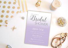Purple Ombre invitation  Lavender Silver Gray by PaperHabitStudio