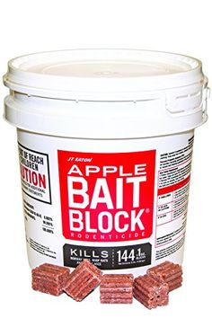 JT Eaton 709-AP Bait Block Rodenticide Anticoagulant Bait, Apple Flavor, For Mice and Rats (Pail of 144) - The JT Eaton Bait Block apple flavor rodenticide is a first generation anticoagulant bait with specially formulated blocks that have an apple flavor to attract and eliminate mice and rats. The active ingredient is Diphacinone 0.005-percent which efficiently eliminates smaller rodents and pests a ...
