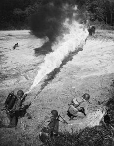 This is a photo of one of the commonly used flamethrowers from the Vietnam war. What was it used for in this photo?