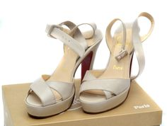 Christian Louboutin Nude Patent Leather Platform Heels 38