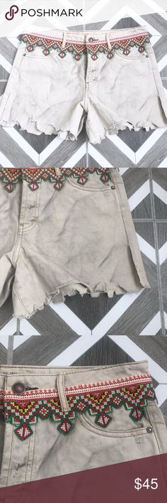 671205fa1a New Free People Embroidered Cut Off Denim Shorts Brand new without tags!  Size 25 27