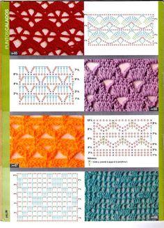Puntadas En Crochet – Crochet For Beginners Crochet Stitches Chart, Crochet Motif Patterns, Crochet Diagram, Crochet Basics, Stitch Patterns, Knitting Patterns, Sewing Patterns, Crochet Curtains, Crochet Cross
