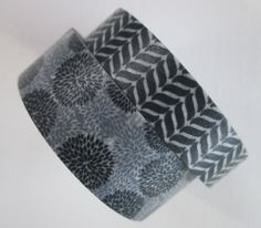 Washi Tape  2 Rolls  Gray and Black Flower Circles by HazalsBazaar, $5.00