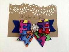 Autism Awareness Hair Bow autism hair clip by MeghanandJulie, $7.75