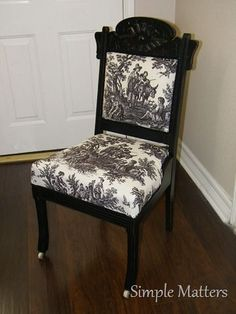 Black and toile antique chair. Would change the upholstery though French Country Rug, French Country Decorating, Old Chairs, Antique Chairs, Painted Furniture, Home Furniture, Funky Furniture, French Furniture, Furniture Projects