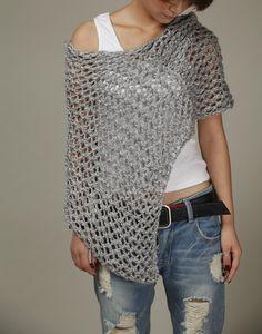 Mano poco algodón poncho gris de punto bufanda punto