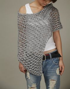 Hand knitted Little cotton poncho grey knit scarf by MaxMelody