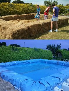 Hay bale swimming pool for the parking lot.
