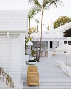 Outdoor living from Three Birds Renovations with a white finish for HardieDeck! Hamptons Decor, The Hamptons, Hamptons Beach Houses, White Beach Houses, Outdoor Spaces, Outdoor Living, Outdoor Decor, Outdoor Tiles, Three Birds Renovations
