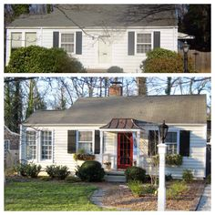 Curb appeal before and after.  Add covered entrance to add dimension.  Paint door red.