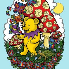 Grateful Dead dancing bear, fairy bears and mushrooms