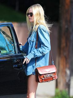 Kate Bosworth and her PS11 Classic Bag in Saddle, http://shopmrsh.com/products/Proenza%5FSchouler/PS11%5FClassic%5FSaddle/
