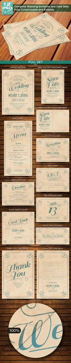 Old Vintage Wedding Invitation and Card Sets Template PSD | Buy and Download: http://graphicriver.net/item/old-vintage-wedding-invitation-and-card-sets/8233339?WT.ac=category_thumb&WT.z_author=equipo3&ref=ksioks