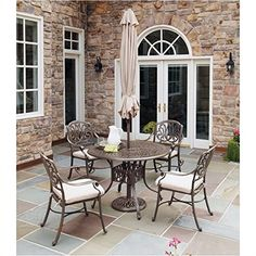 Bowery Hill 5 Piece Metal Patio Dining Set in Taupe >>> Check this out by going to the link at the image.