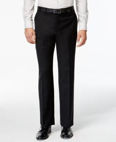 Michael Michael Kors Black Solid Classic-Fit Dress Pants - Black 40x34
