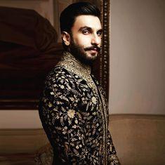 ranveer singh in an embroidered sherwani Milan Fashion Weeks, New York Fashion, London Fashion, Churidar, Anarkali, Leather Anniversary Gift, Mens Sherwani, Rohit Bal, Ranveer Singh