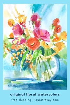 Watercolor Floral Paintings available to shop straight from Instagram. Free shipping on all orders.