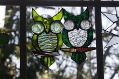 Stained Glass Owl Suncatcher by AnnersGlassShack on Etsy