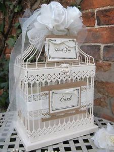 Wedding Vintage Birdcage Love Bird Cream Metal Wedding Post Box Card Holder