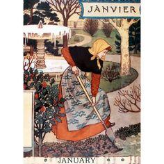 "Ilustração do mês de Janeiro: ""La Belle Jardiniere – January"" - Eugène Grasset - 1896 Art And Illustration, Illustrations, Decoupage, Images Vintage, Vintage Posters, Vintage Prints, Eugene Grasset, Vintage Calendar, Inspiration Art"