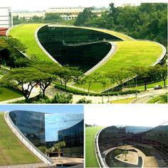 A Swirling Green Roof Tops Gorgeous Nanyang Technical University in Singapore. Read more: A Swirling Green Roof Tops Nanyang Art School in Singapore Architecture Durable, Architecture Cool, School Architecture, Sustainable Architecture, Sustainable Design, Landscape Architecture, Landscape Design, Singapore Architecture, Contemporary Architecture