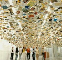 """Suspended """"Bookshelf"""" Installation by Richard Wentworth"""
