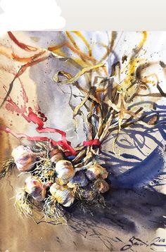 Garlic Watercolor Samira Yanushkova 26x34sm