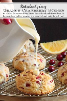These Ridiculously Easy Orange Cranberry Scones are melt-in-your-mouth delicious and can be made ahead. Pop them in the oven just before serving, for easy entertaining! Brunch Recipes, Breakfast Recipes, Picnic Recipes, Picnic Ideas, Picnic Foods, Cranberry Orange Scones, Easy Cranberry Scones Recipe, Best Scone Recipe, Orange Outfits