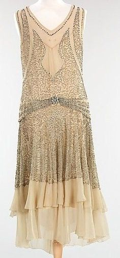 ca. 1920's Beaded Sequined Silk Chiffon Flapper Dress..: