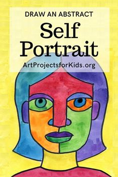 Learn how to draw an Abstract Self Portrait with this fun and easy art project for kids. Simple step by step tutorial available. Self Portrait Kids, Picasso Self Portrait, Portraits For Kids, Self Portrait Drawing, Picasso Portraits, Picasso Art, Abstract Portrait, Portrait Ideas, Classroom Art Projects