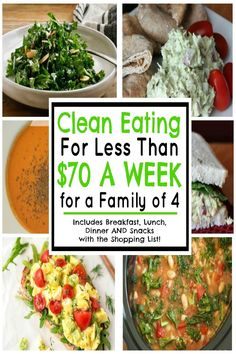 Breakfast, lunch, dinner and snack recipes with meal plan so you can start clean eating for less than $70 a week for a family of 4 (without using coupons)!