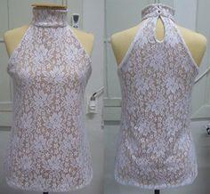 moldes de blusinhas de renda com gola alta