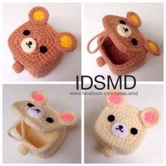 Ref Amigurumi crochet box Crochet Box, Crochet Purses, Love Crochet, Crochet Gifts, Crochet Patterns Amigurumi, Crochet Dolls, Amigurumi Toys, Kawaii Crochet, Crochet Accessories