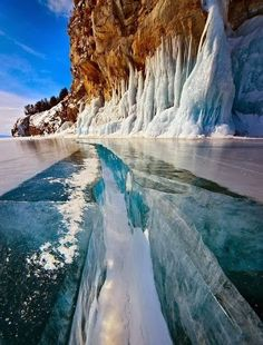 Solid Ice - Lake Bai, the oldest and largest freshwater lake in the world. Siberia