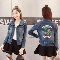 Women Denim Jacket Riverdale southside serpents Jeans bomber jacket Coat  Casual female Outwear Solid Plus Size big size 4XL 5XL 3e89069fc771